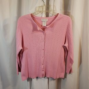 cardi sweater LG pink skinny cable ribbed knit